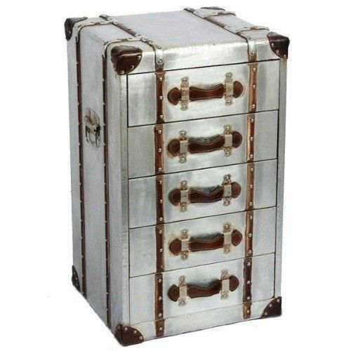 Silver industrial aluminium tallboy chest of drawers - Buy Now at Scoutabout Interiors