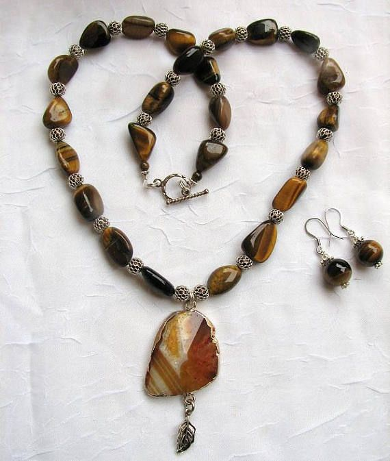 Tiger's Eye Necklace with Agate Pendant and Matching