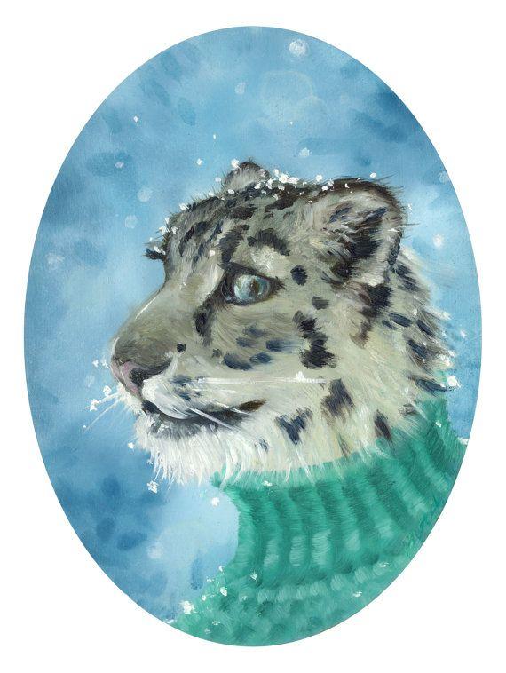 Nervous Snow Leopard Giclée Print