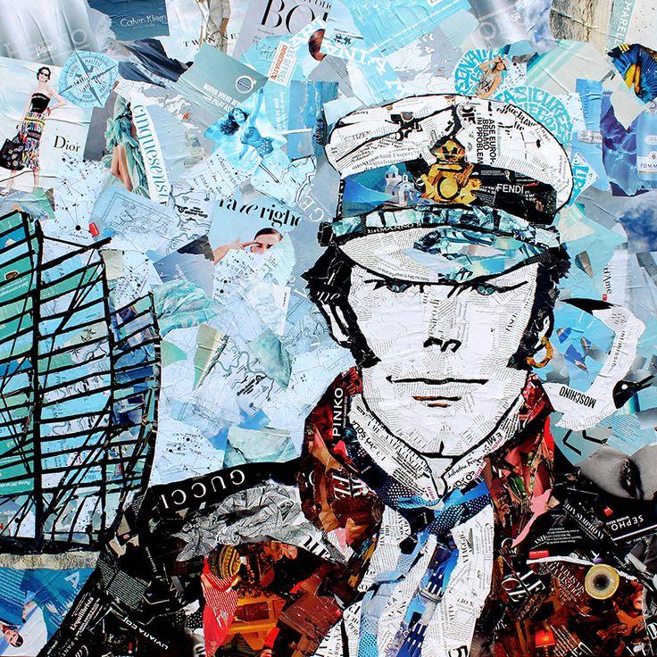 Corto Maltese Magazine Collage Quadro 120x120 cm Realizzato esclusivamente con riviste riciclate e colla vinilica su tela.  www.paolamontanaro.com