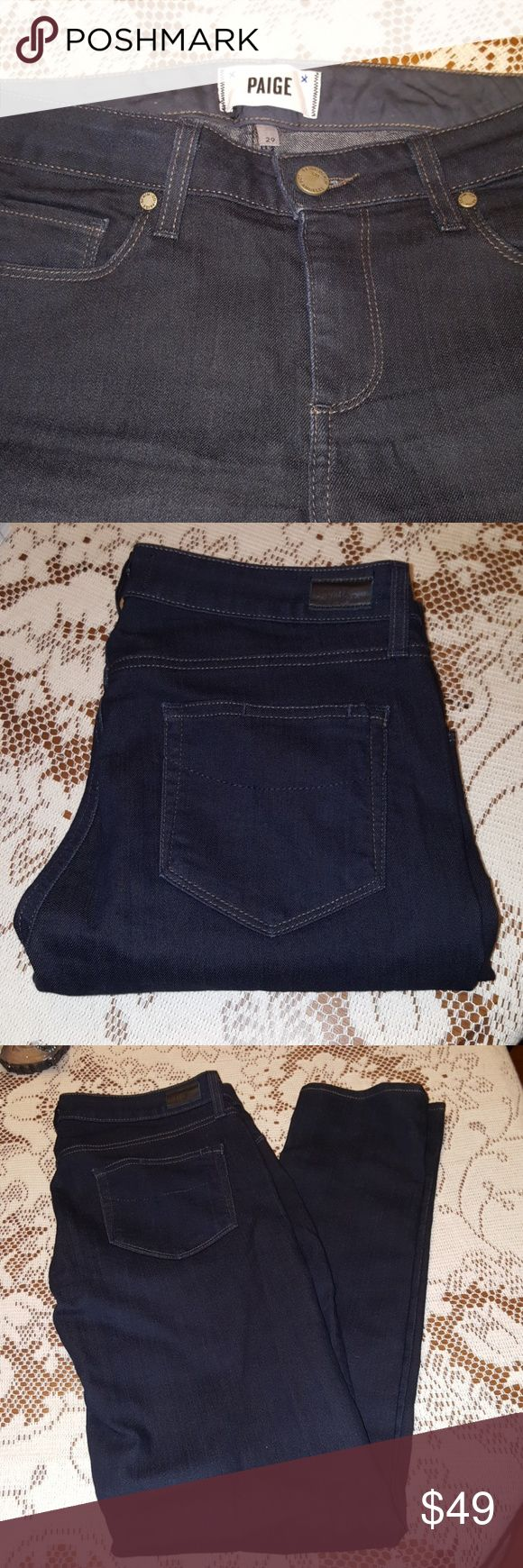 Paige jeans, size 29 Like new, dark denim, skyline skinny style. Awesome jeans. Bundle and save! PAIGE Jeans Skinny
