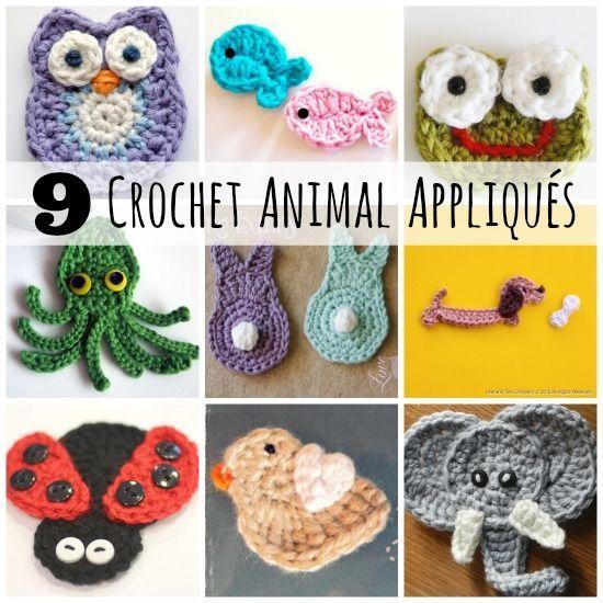 9 super sweet Crochet Animal Applique patterns #crochetaday