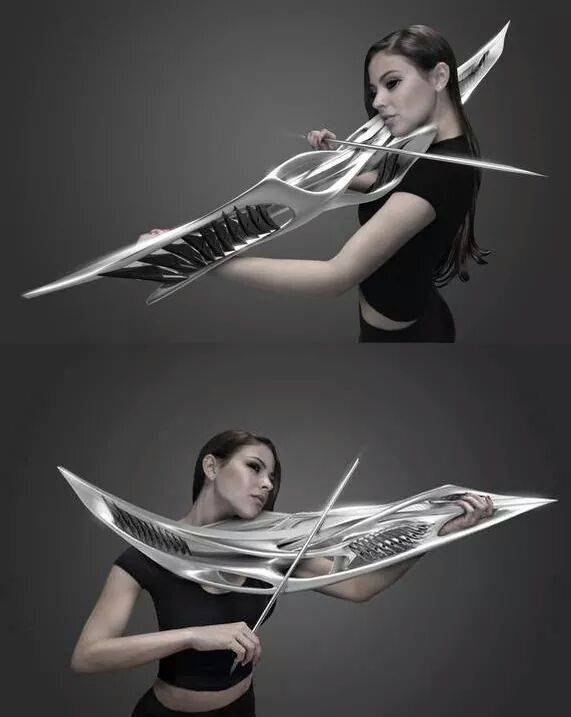An electric violin that looks like something straight out of Battlestar Galactica.