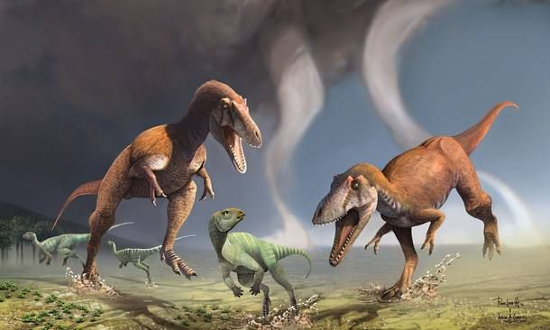 Visão artística de um par de dinossauros da espécie Gualicho shinyae perseguindo presas; o animal tinha braços curtos como o T. rex, mas pertencia a outro ramo da família dos terópodes.