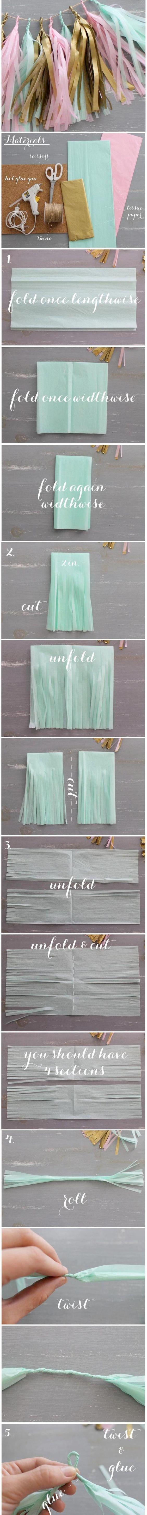 DIY Tissue Paper Tassel Garland.
