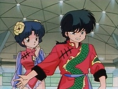 Ranma: Akane's MY fiance! You touch her and I'll Kill You! (kya! one of my favorite moments with these two!)