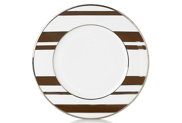 S/4 Striped Accent Plates, Brown/Silver on OneKingsLane.com