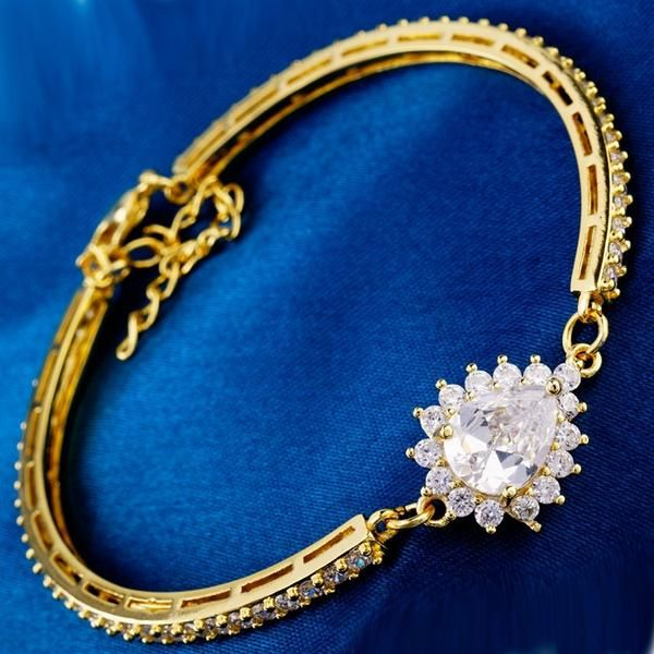 Luxury CZ synthetic gemstone wedding/party new rose gold plated bracelets bangles Top quality jewelry 3 Colors - cubic zirconia jewelry