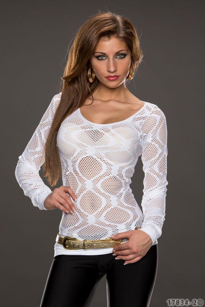 top sexy haut blanc ajourée résille femme tee shirt