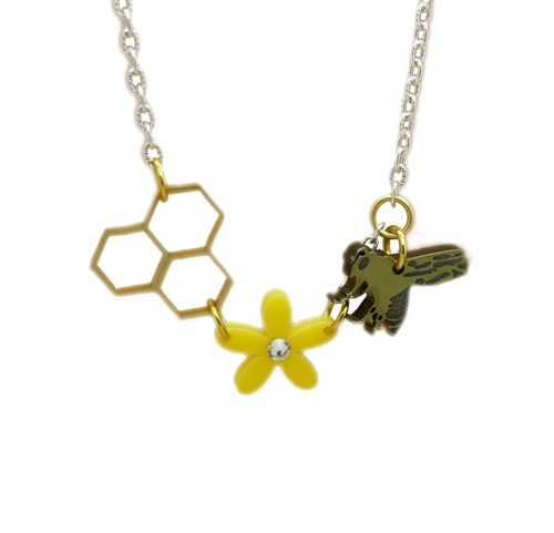 Spring is in the air Dainty Golden Honey Bee Honeycomb and floral daisy Multi charm necklace made from Perspex In natural Bright Sunlight this golden piece will truly sparkle Each charm is suspended from a 16-18 inch chain Pendants size: approximately 1 inch by 1 inch Comes in a cotton gift pouch