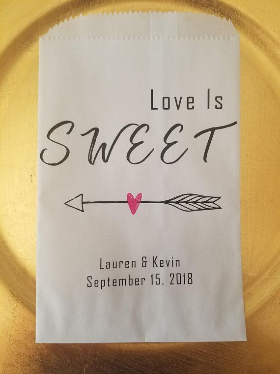 Love Is Sweet Custom Candy Favor Bags Personalized Wedding Gift Buffet Treat