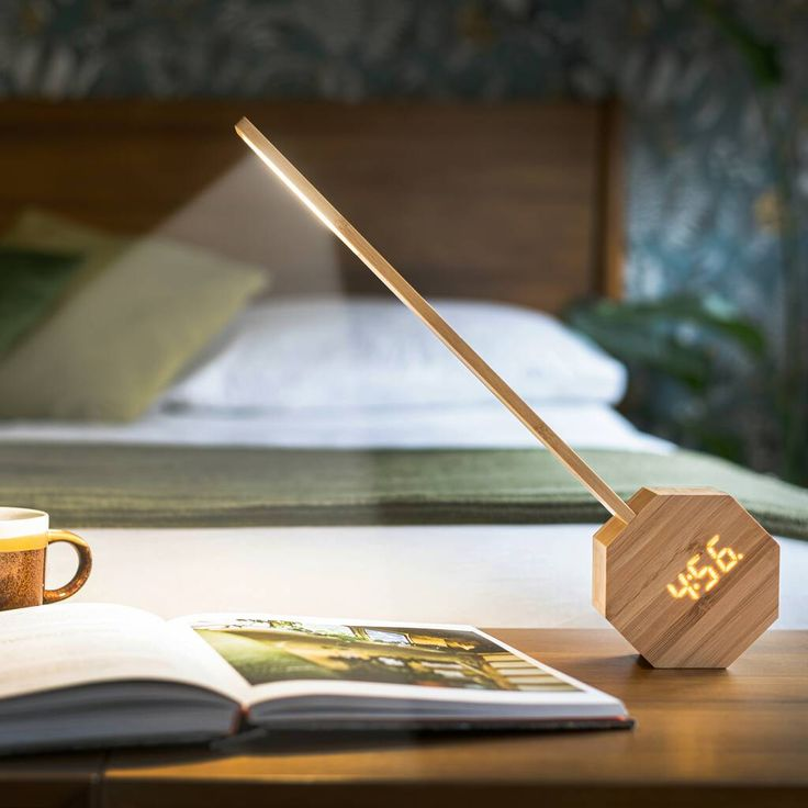 Octagon One Plus is a stunning desk light with a unique alarm clock and made by 100% natural wood.  This smart design isn't just simply combining the best of simplicity and natural material to achieve its modern industrial aesthetic, but has also solved our everyday space-saving dilemmas, by creating an alarm clock and light into one sculptural-like unit. Leaving space for the more important things in our lives. The focal point of this design is a beautiful CNC milled hexagon natural wood… Desk Light, Light Up, Unique Alarm Clocks, Clock Display, Modern Clock, Desk Clock, Smart Design, Modern Industrial, Allie