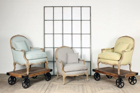 The Edwina lounge chair, we love the pastel hues.