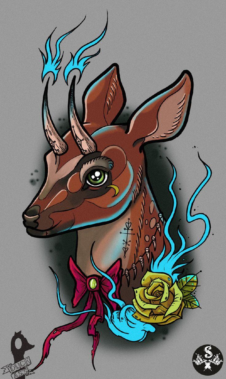 deer in netraditional tattoo sketch by @mmm_duck_ass