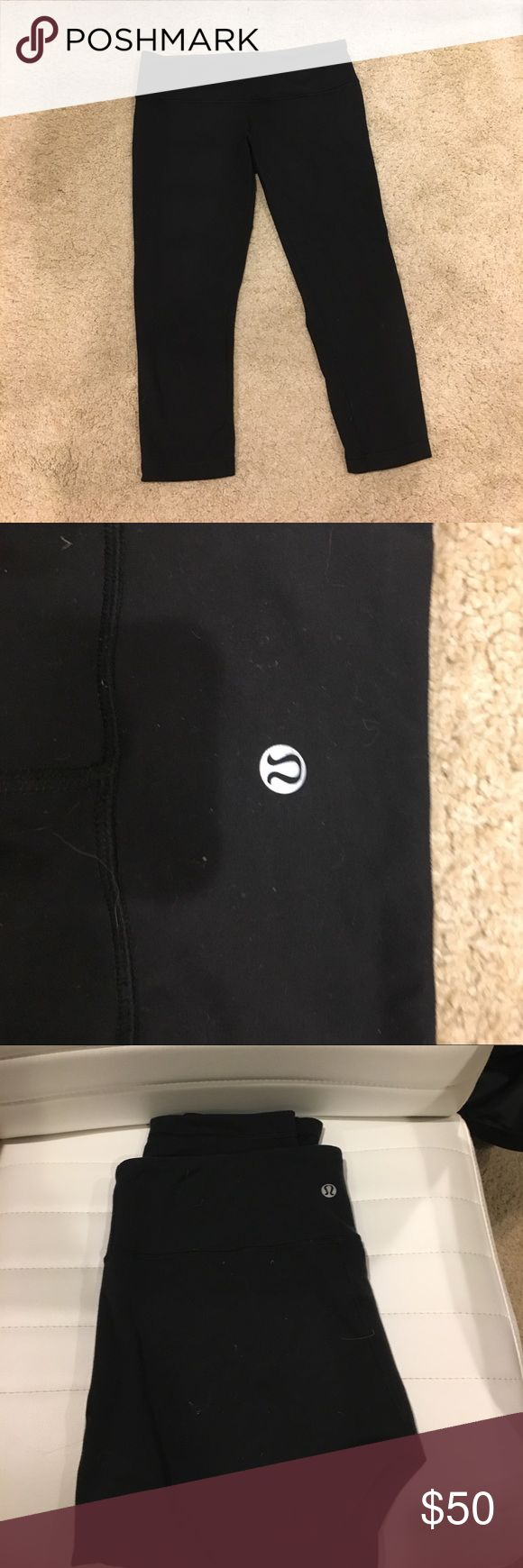 Lulu lemon basic comfy leggings I'm not quite sure what these are called they are one of the most basic pairs of leggings lulu sells I believe they are a size 8 super comfy( nothing wrong with them just don't fit me anymore.. I've lost some weight) lululemon athletica Pants Leggings