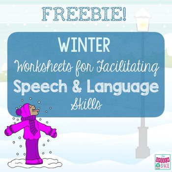 This FREE digital download contains 6 FUN winter-themed worksheets for working on speech and language skills.  The first 4 worksheets target language skills and the last 2 are open-ended worksheets for reinforcement of articulation.