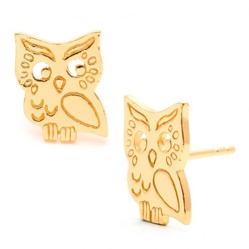 Gorjana Owl Stud Earrings at aquaruby.com