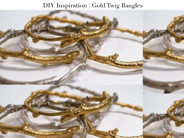 DIY gold twig bracelets - perfect match for my necklace!