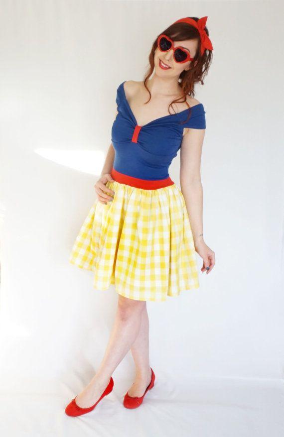 Disneybound Adult Princess Snow White Gingham Dress Costume (UK 8) (US 4) (EUR 36) Ladies Womens Pinup Retro 50s