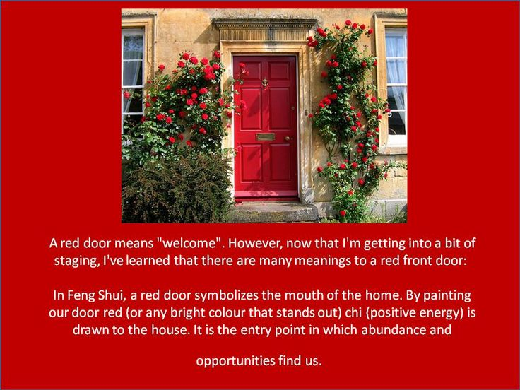 The meaning of a Red Door Red door, Hearth and home, Doors
