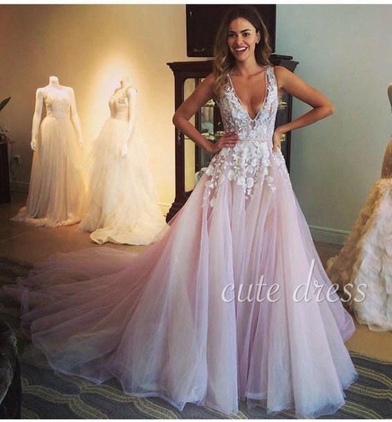 Unique v neck tulle lace ball gown long prom dress for teens,unique light pink tulle evening dress 2016, modest prom dress