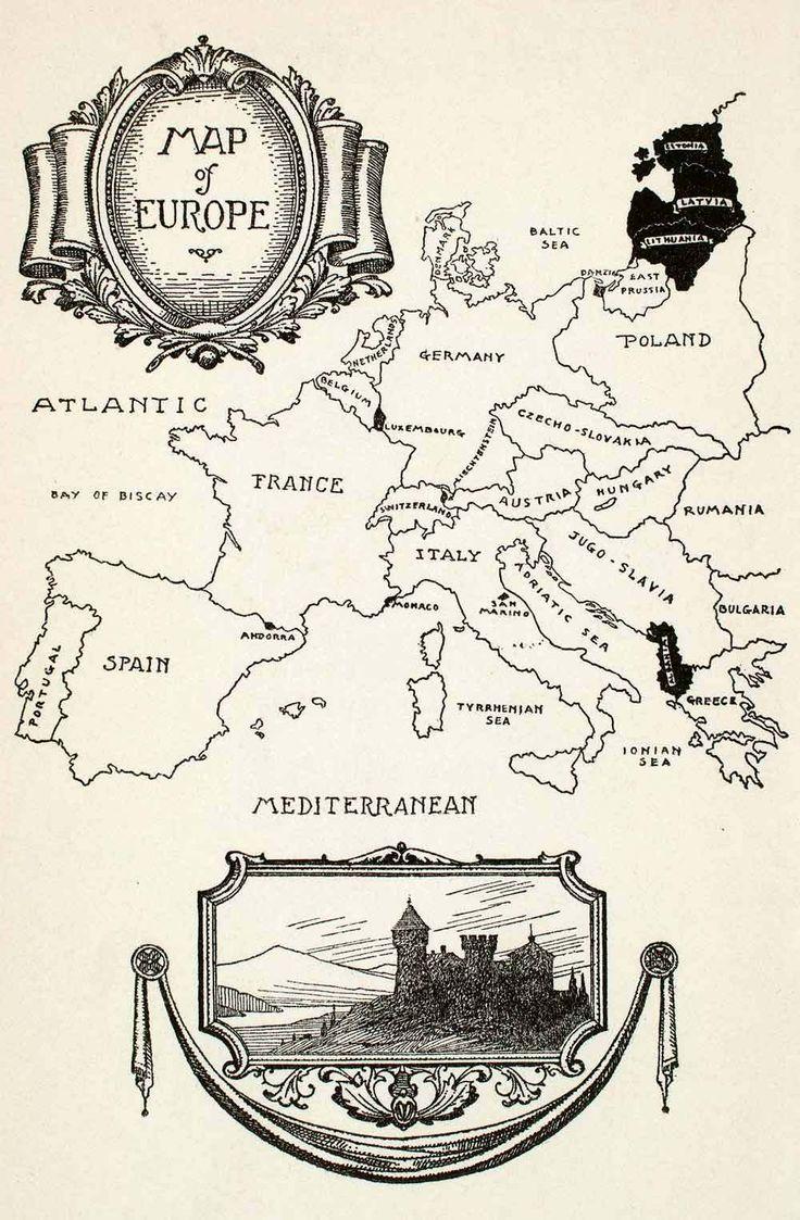 1932 Wood Engraving Map Europe Spain France Germany Poland Italy Portugal XGOA7 | eBay