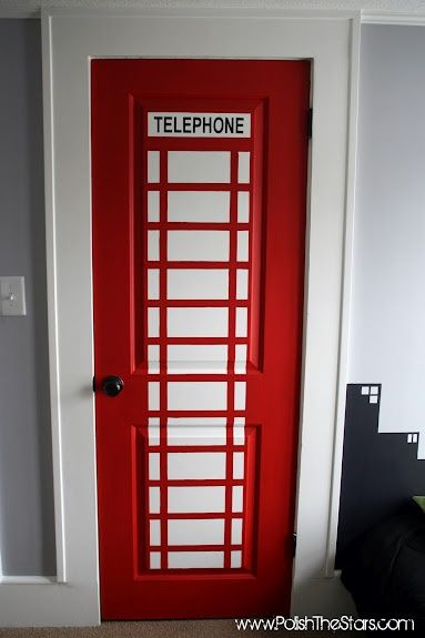 Phone booth closet door - leads to superhero changing room of course. And Gotham city painted skyline headboard idea