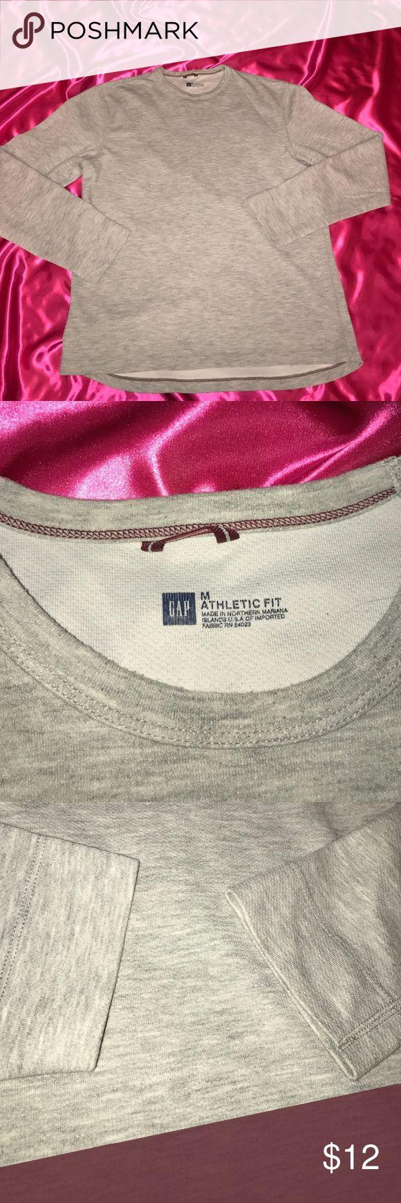 GAP sweatshirt GAP long sleeve sweat shirt light gray athletic fit M GAP Sweaters Crew & Scoop Necks