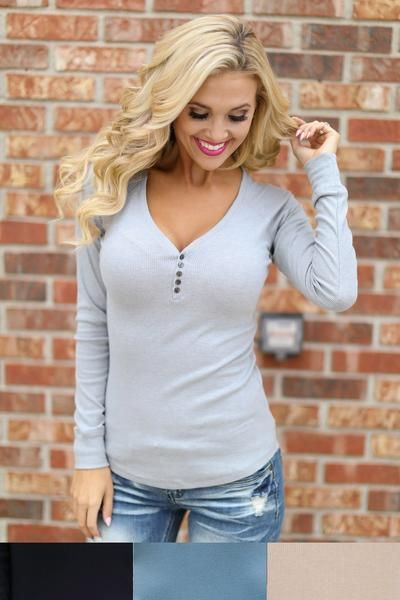 Keep It Simple Ribbed Henley Tops