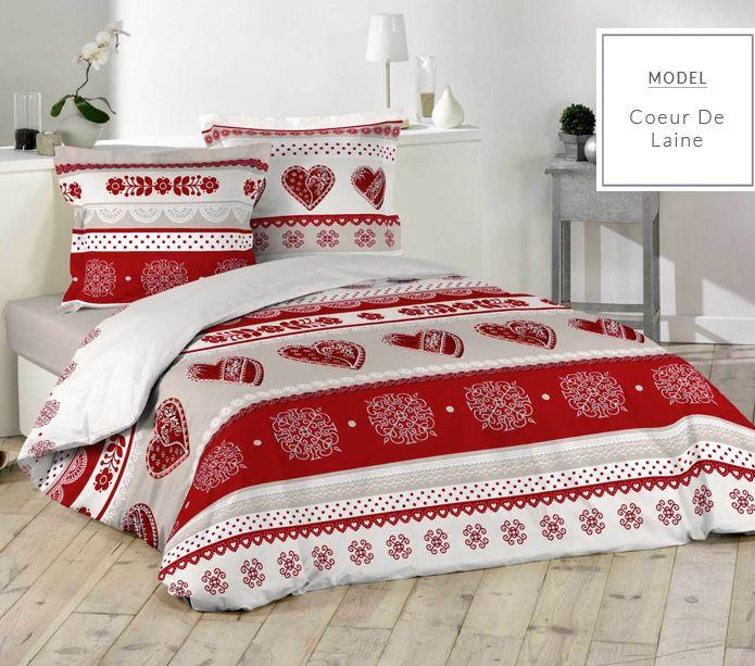 Nowoczesna szaro czerwona pościel na łóżko małżeńskie z motywem świątecznym