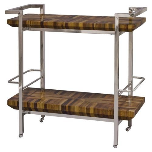 Teo Global Bazaar Inlaid Banana Bark Silver Bar Cart | Kathy Kuo Home