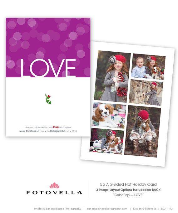 Christmas Card Template 5x7 Flat Card Color Pop Love Etsy In 2020 Christmas Card Photoshop Christmas Card Template Modern Christmas Cards