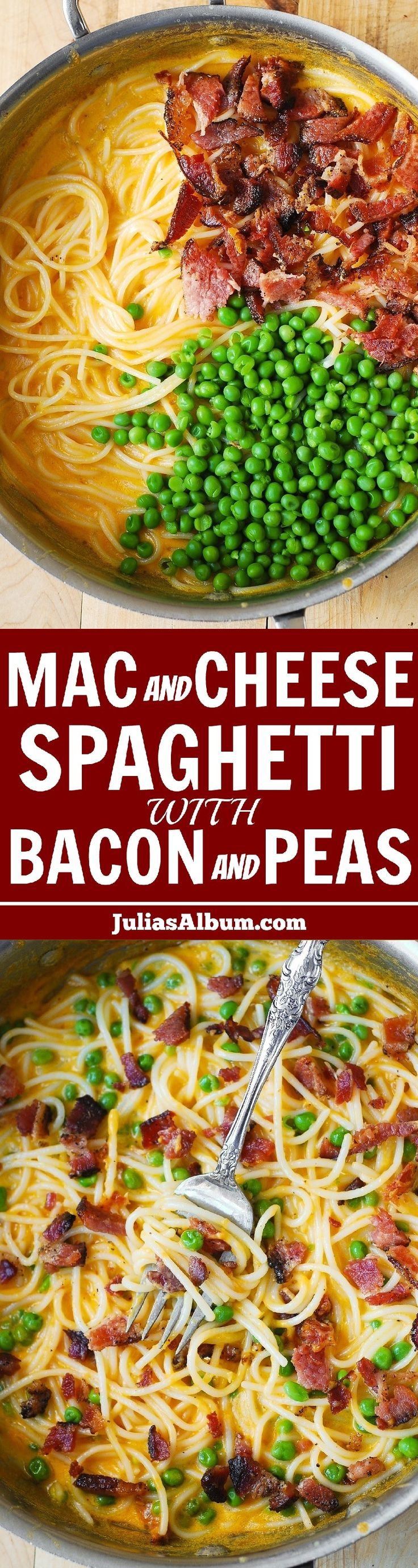 Mac and Cheese Spaghetti with Bacon and Peas (in a flavorful cheddar sauce). 30-minute meal!