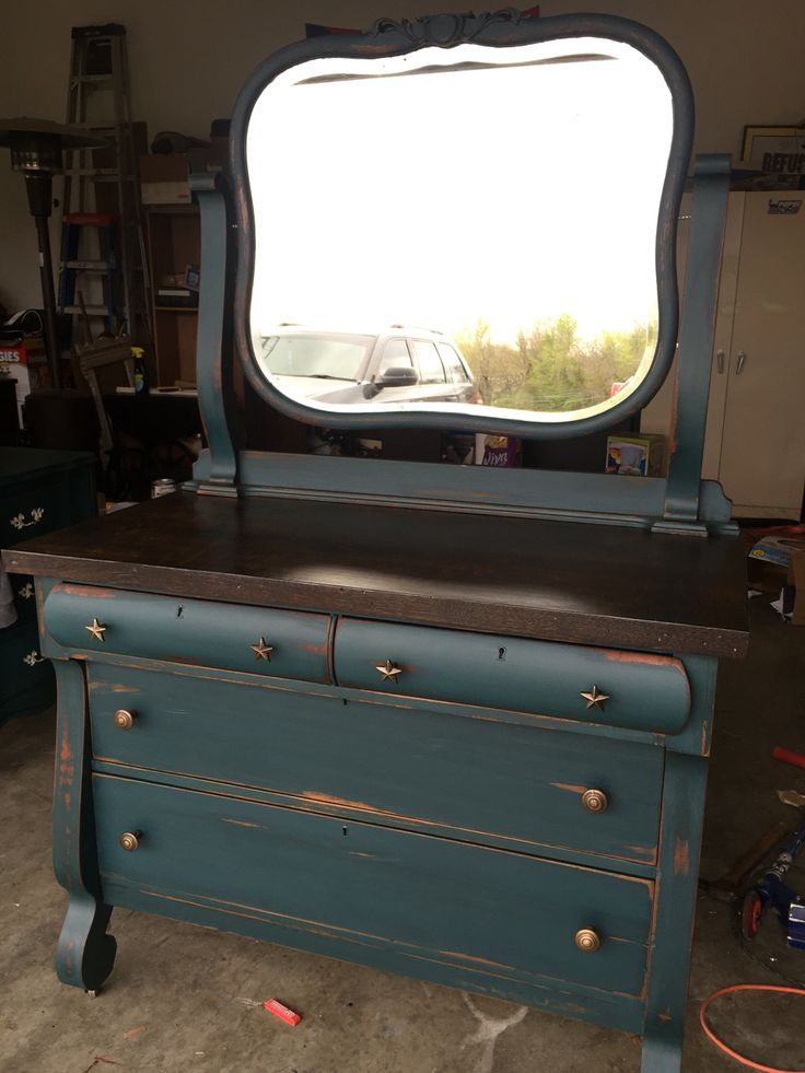 Facebook: Bray's Boom'n Furniture Refinished empire buffet/dresser. Amy Howard chalk paint. Distressed, glazed, waxed.