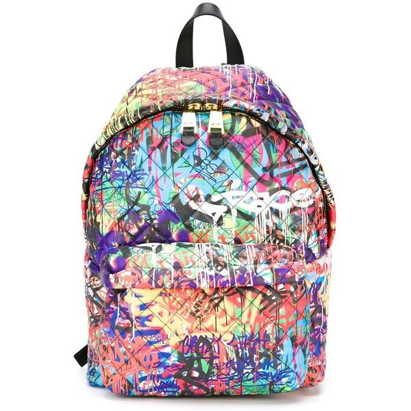 Moschino graffiti quilted backpack ($1,775) ❤ liked on Polyvore featuring bags, backpacks, moschino backpack, multi color backpack, quilted leather bag, genuine leather backpack and leather rucksack