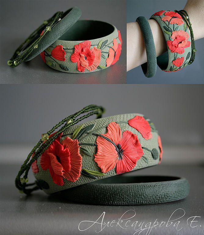 """Bracelets handmade.  Fair Masters - handmade bracelet set """"Scarlet poppies.""""  Handmade."""