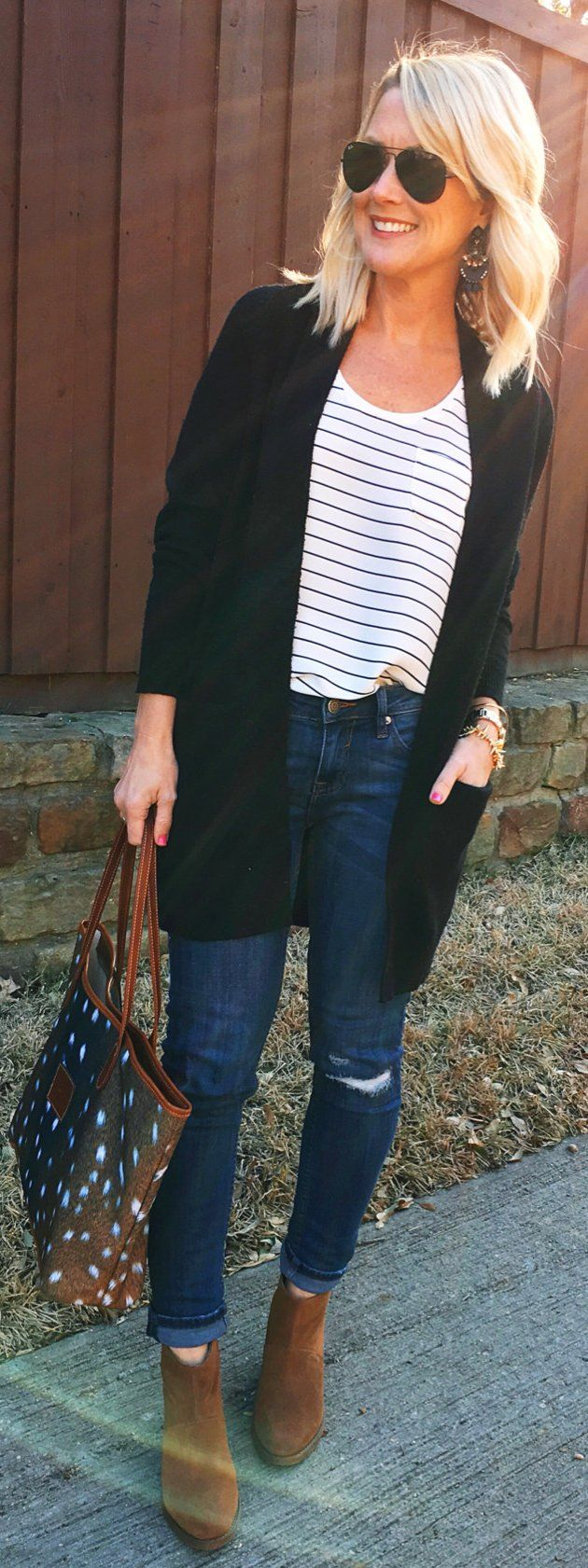 #winter #fashion /  Black Cardigan / White Striped Top / Ripped Skinny Jeans / Brown Suede Booties