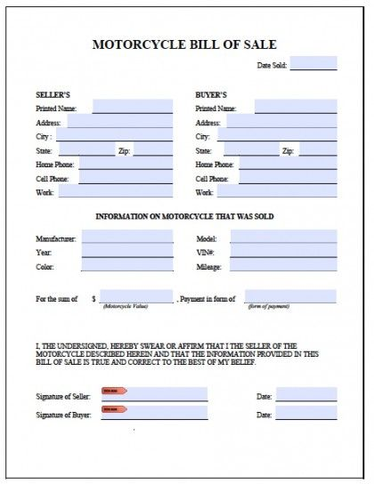 Printable Sample Motorcycle Bill of Sale Form Attorney Legal Forms