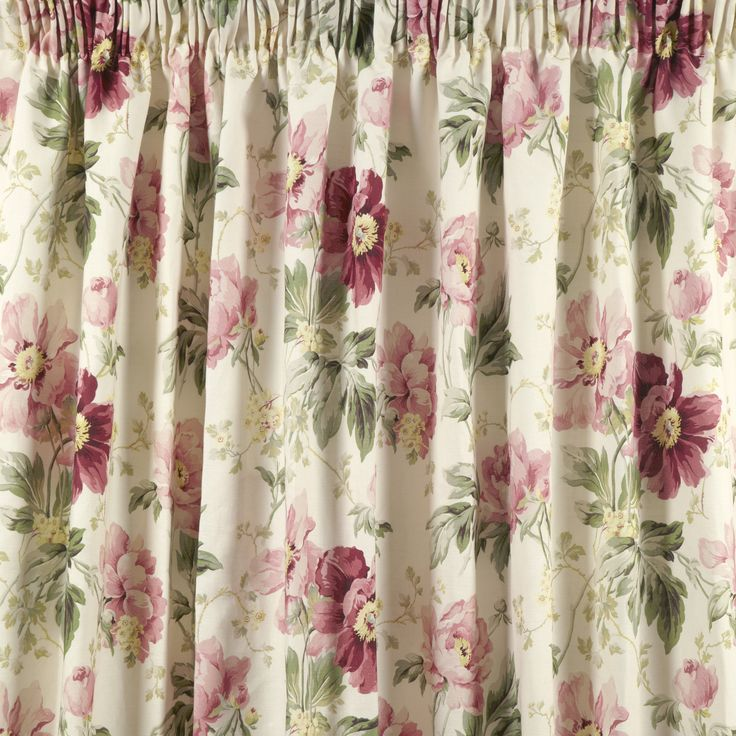 Peony Garden Cranberry Cotton Pencil Pleat Ready Made Curtains