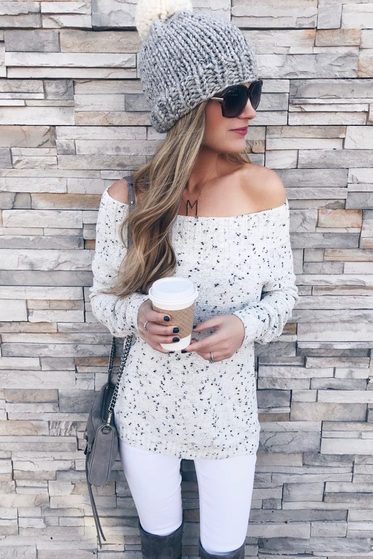 Nordstrom Black Friday sale - off the shoulder sweater and white skinny jeans on pinterestingplans