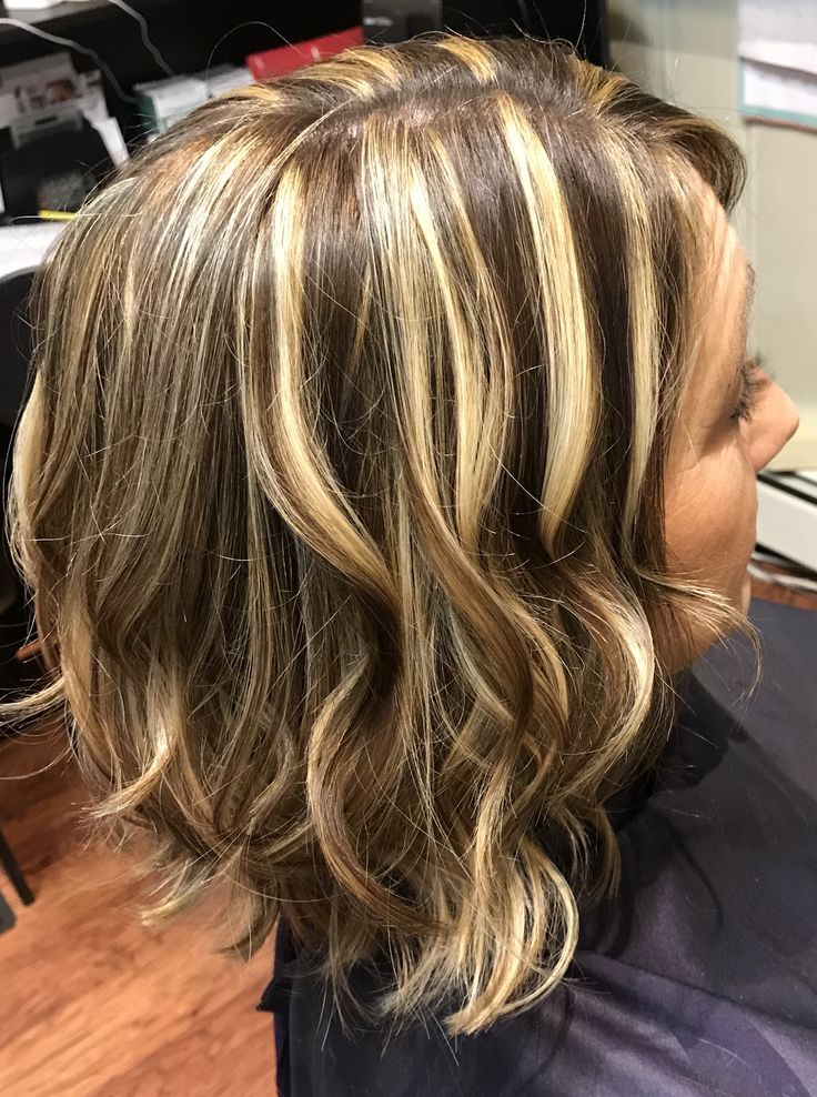 Bright Blonde And Brunette Highlight And Lowlight Hair