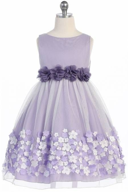 d292f3e502 Lavender Mesh Flower Girl Dress with Taffeta Flowers