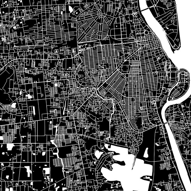 Phnom Penh, Cambodia, downtown vector map. Art print pattern. White streets, railways and water on black. Bigger bridges with outlines. This map will... ... #map #downloadable #background #vector #design