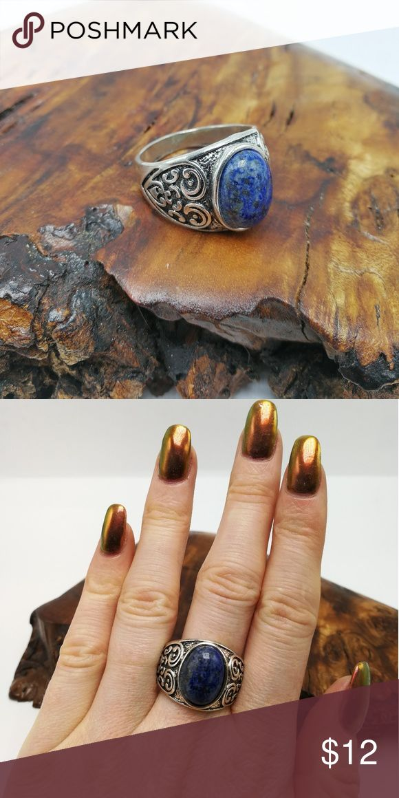 PLUS NWT LAPIS gemstone crystal silver unisex New with tags! Gorgeous Natural Gemstone LAPIS Tibet Silver ring. Mixed metals. Lead and nickel free. Price is firm. No holds. Bundle to SAVE. R#3002 PLUS SIZE Jewelry Rings