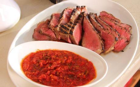 Garlic Thyme Steak with Smoked Tomato Relish