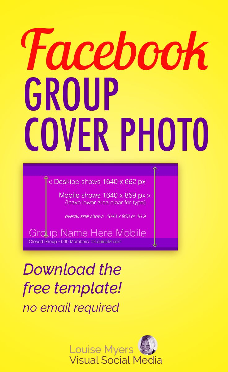 Facebook marketing tips: The FB group cover photo size is always changing! Click to blog and download your FREE template – no email required. It crops differently by device, so grab this template! #facebookmarketing #SMM #contentmarketing #onlinemarketing #marketingtips #socialmediamarketing