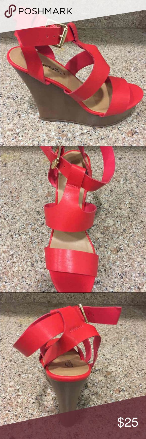 Brand New Cherry Red Wedge Heels Pumps Brand new, in box. Have sizes 5.5 and 7 available. Super cute cherry red wedges. Price is firm. Fast shipping from California. Shoes Wedges