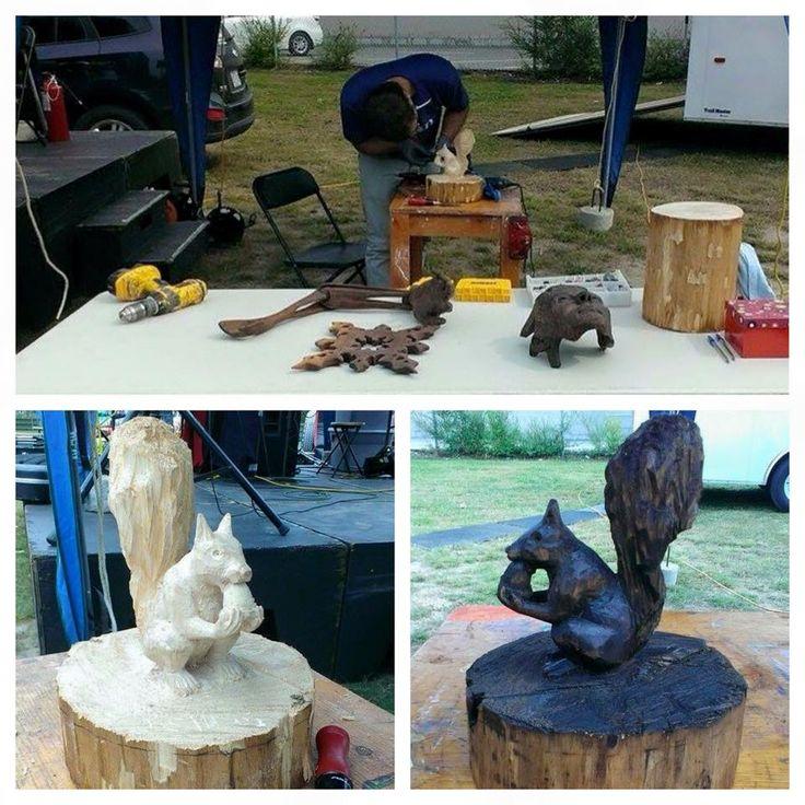 Démonstration de sculpture sur bois avec Pascal Lareau. Offert à l'occasion des fêtes de district de la ville de Trois-Rivières (été 2015)