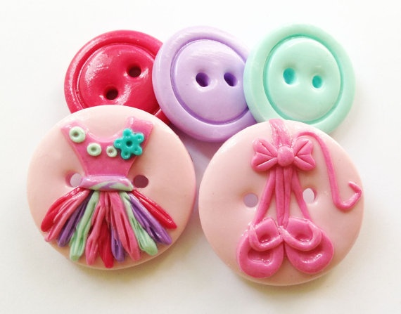 Ballerina Girl  handmade polymer clay buttons by ayarina on Etsy,