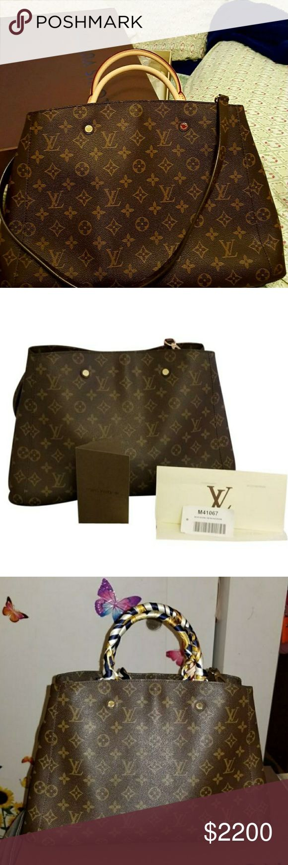 Louis vuitton GM montaigne(SOLD) In very good condition, just regular sign of wear .the only major wear is the one in the last pics (u can easily clean it )hard to notice ...comes with dustbag,box,2 keys ,receipt and paper bag...Made in France ...I am willing to trade with a  MM size ,the same style and almost the same condition 😊.I accept paypal payment also. Louis Vuitton Bags Shoulder Bags